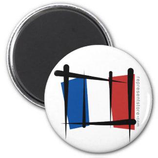 France Brush Flag 6 Cm Round Magnet
