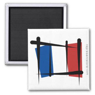 France Brush Flag Square Magnet