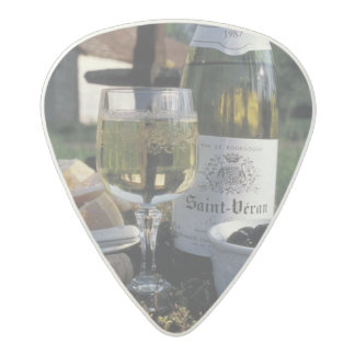 France, Burgundy, Chablis. Local wine and Acetal Guitar Pick