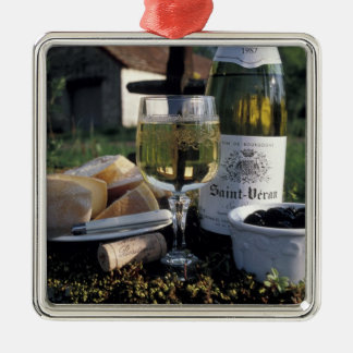 France, Burgundy, Chablis. Local wine and Christmas Ornament
