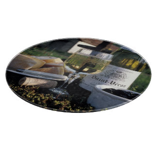 France, Burgundy, Chablis. Local wine and Cutting Board