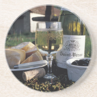 France, Burgundy, Chablis. Local wine and Sandstone Coaster