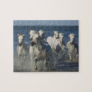France, Camargue. Horses run through the estuary 4 Jigsaw Puzzle