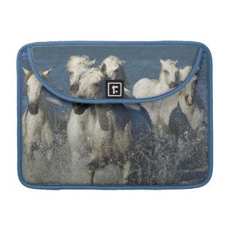 France, Camargue. Horses run through the estuary 4 Sleeve For MacBook Pro