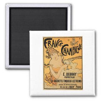 France Champagne Vintage Wine Drink Ad Art Square Magnet