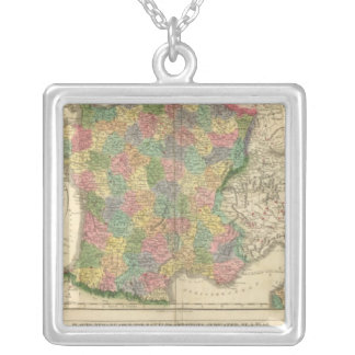 France Chronology Map Silver Plated Necklace