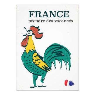 France cockerel vintage travel poster photographic print