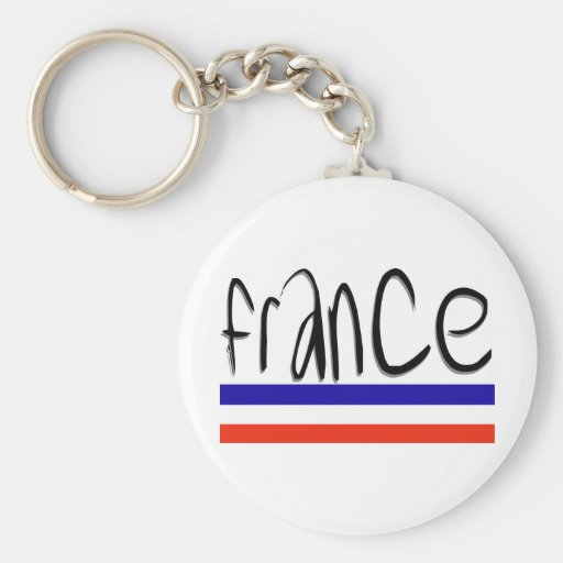 France Colours! Basic Round Button Key Ring
