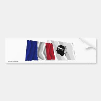 France & Corse waving flags Bumper Sticker