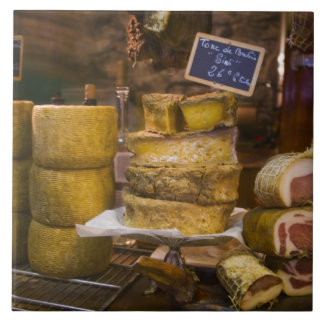 France, Corsica. Local cheeses and charcuterie Tile