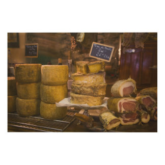 France, Corsica. Local cheeses and charcuterie Wood Print