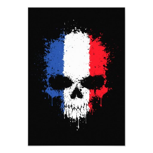 France Dripping Splatter Skull Personalized Announcements