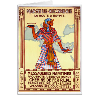 France Egypt Restored Vintage Travel Poster Card