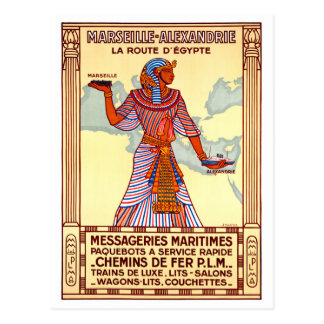 France Egypt Restored Vintage Travel Poster Postcard