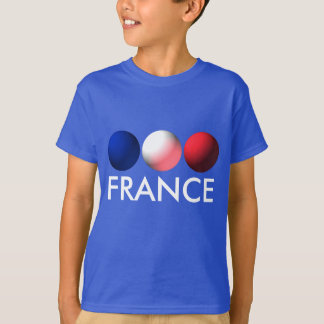France Flag Blue, White and Red Spheres T-Shirt