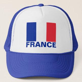 France Flag Customizable Blue Text Trucker Hat