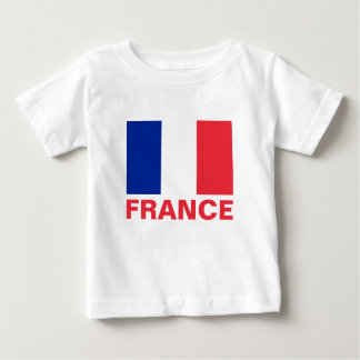 France Flag Customizable Red Text Baby T-Shirt