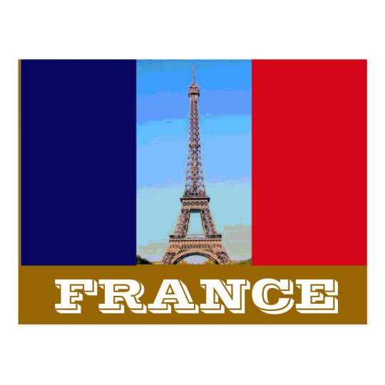 France flag Eiffel Tower Postcard