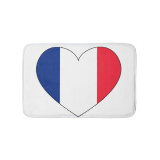 France Flag Heart Bath Mat