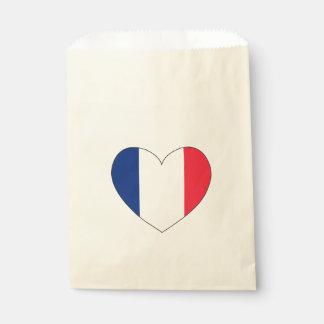 France Flag Heart Favour Bags