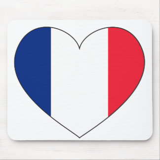 France Flag Heart Mouse Mat
