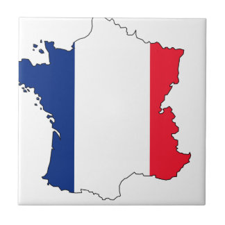 France Flag Map #2 Small Square Tile