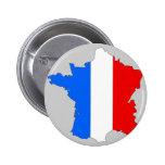 France flag map 6 cm round badge