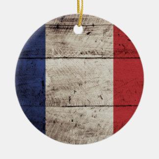 France Flag on Old Wood Grain Christmas Ornament