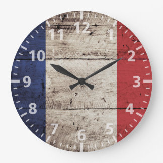 France Flag on Old Wood Grain Large Clock