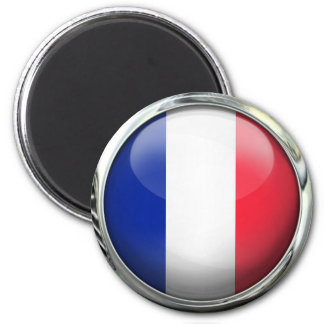 France Flag Round Glass Ball 6 Cm Round Magnet