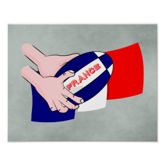 France Flag Rugby Ball Cartoon Hands Poster