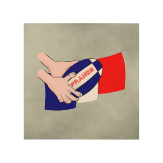 France Flag Rugby Ball Cartoon Hands Wood Canvases