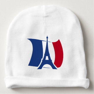 France flag with Eiffel Tower blue, red, white Baby Beanie