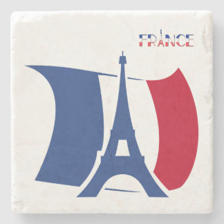 France flag with Eiffel Tower blue, red, white Stone Beverage Coaster