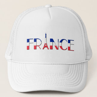France flag with Eiffel Tower blue, red, white Trucker Hat