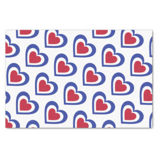 France/French Flag-inspired Hearts Tissue Paper