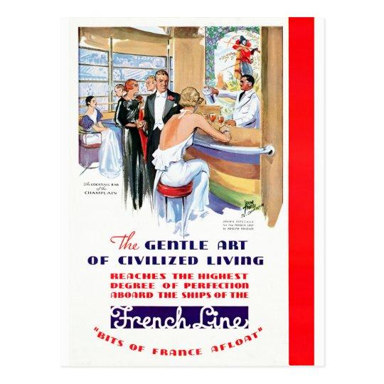 France French Line Restored Vintage Travel Poster Postcard