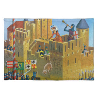 France, French vintage Medieval Carcassonne Placemats