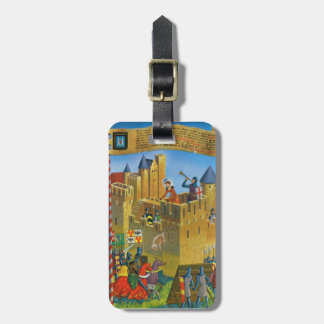 France, French vintage Medieval Carcassonne Luggage Tag