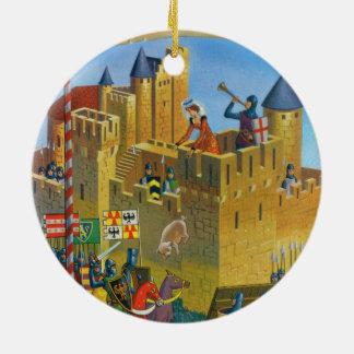 France, French vintage Medieval Carcassonne Round Ceramic Decoration