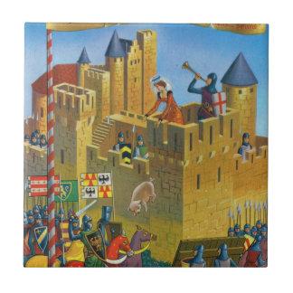France, French vintage Medieval Carcassonne Tile