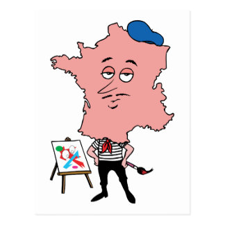 France French Vintage Travel Souvenir Caricature Postcard