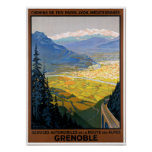 France Grenoble Restored Vintage Travel Poster