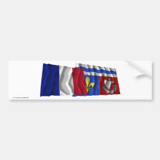 France & Hauts-de-Seine waving flags Bumper Sticker