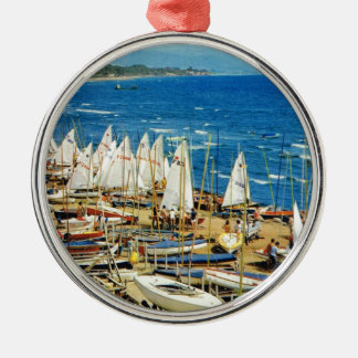 France, Hyeres, Var, Port and Marina Silver-Colored Round Decoration