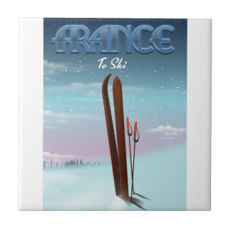 France 'ice' ski sports vacation poster tile