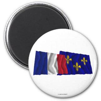 France & Île-de-France waving flags Fridge Magnets