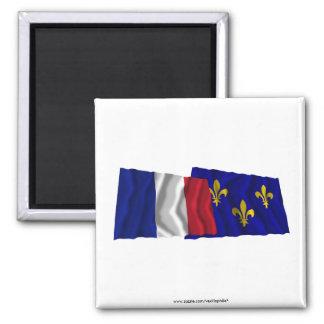 France & Île-de-France waving flags Square Magnet