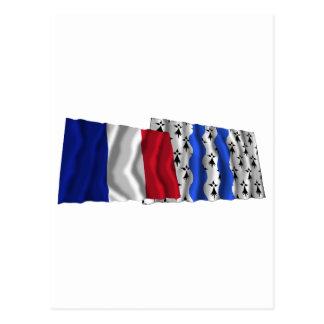 France & Ille-et-Vilaine waving flags Postcard