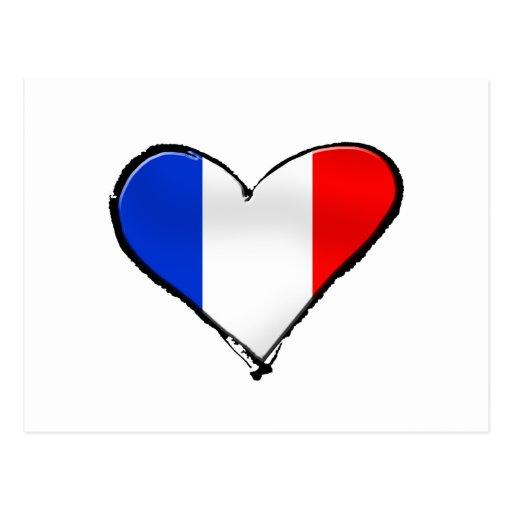 France Je Taime flag of France I heart France gift Postcards